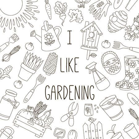 Gardening farming doodle vector icons banner template Illustration
