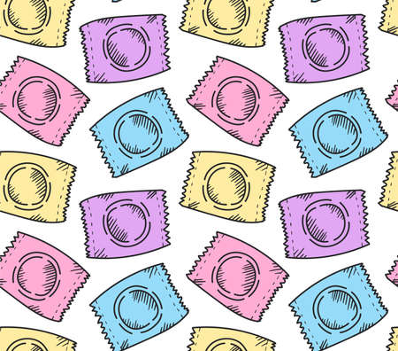Condoms doodle line icons seamless vector pattern