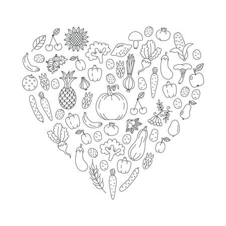 Vegetables fruits doodle line vector set heart shape design
