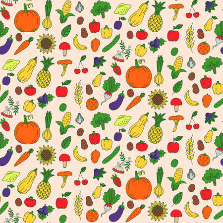 Vegetables fruits doodle colorful seamless vector pattern