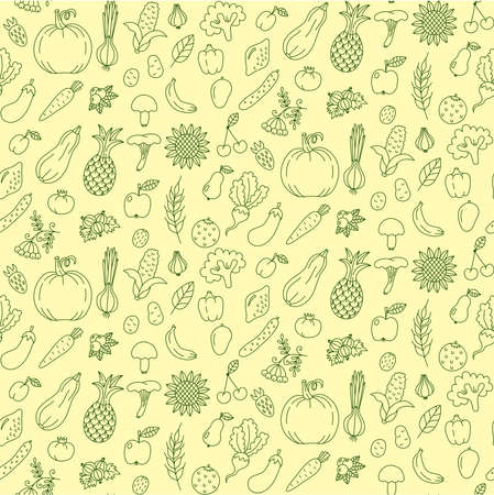 Fruits and vegetables doodle line seamless vector pattern