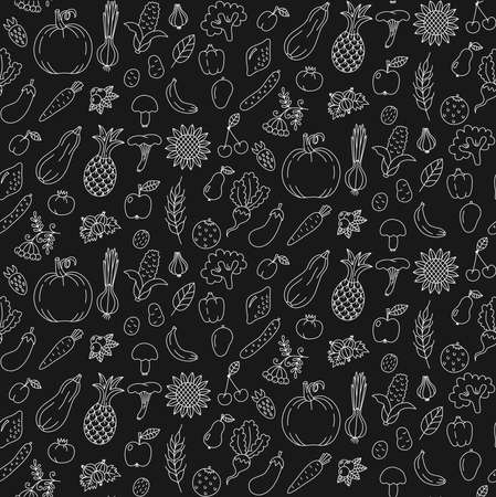 Vegetables fruits doodle icons seamless vector pattern