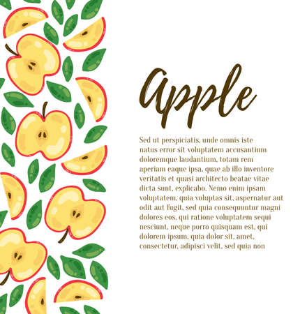 Apples fruits decorative border design vector banner template with sample text