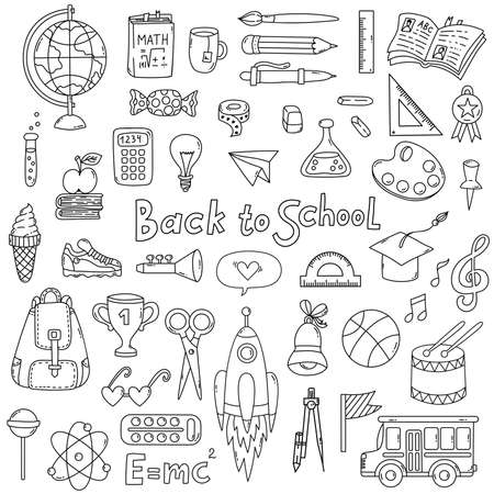 Back to school doodle line icons set