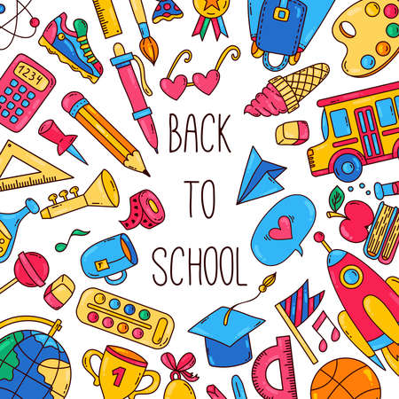 Back to school cute cartoon banner template
