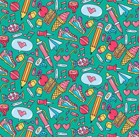 Cute school education teenager doodle cartoon colorful icons seamless vector pattern Stock Illustratie