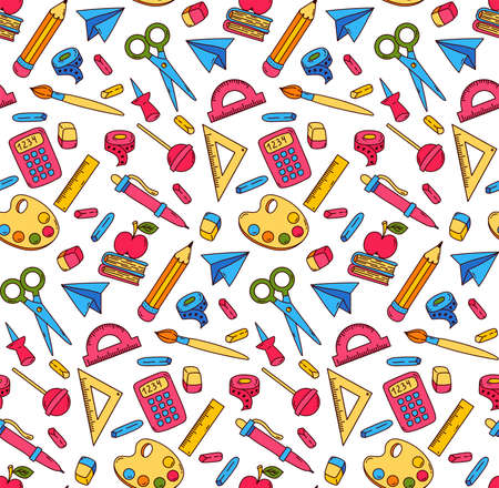 School university college office equipment doodle colorful cartoon icons seamless vector pattern