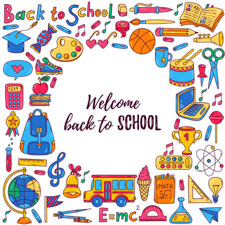 Doodle cartoon back to school colorful vector icons set round banner template