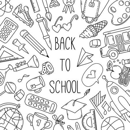 Cute school icons doodle vector banner template