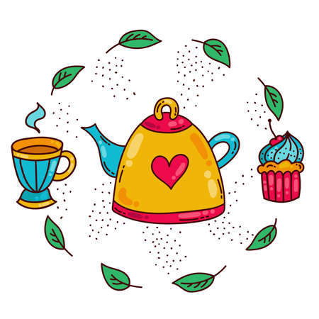 Tea time doodle colorful cute icons set