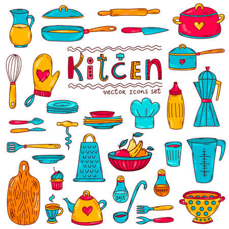 Kitchen cooking doodle line cartoon icons vector set