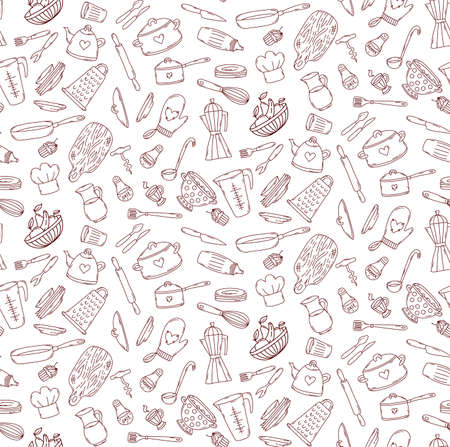 Cooking kitchen doodle line icons seamless vector pattern