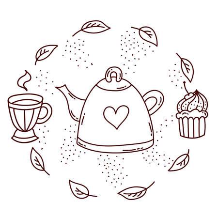 Tea time cup cupcake doodle icons vector set