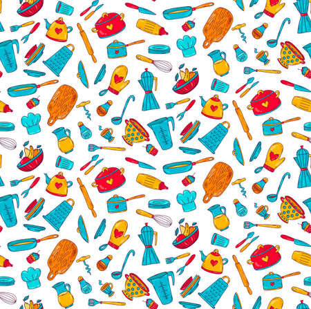 Cooking kitchen doodle colorful seamless vector pattern Stock Illustratie