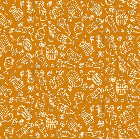 Beer drink doodle line seamless vector pattern