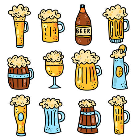 Beer colorful cute alcohol drink icons vector set