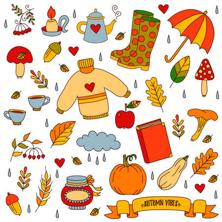 Autumn fall doodle colorful cartoon icons vector set