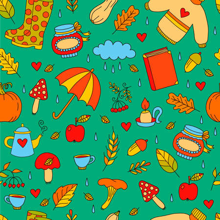 Cute autumn doodle cartoon colorful seamless vector pattern