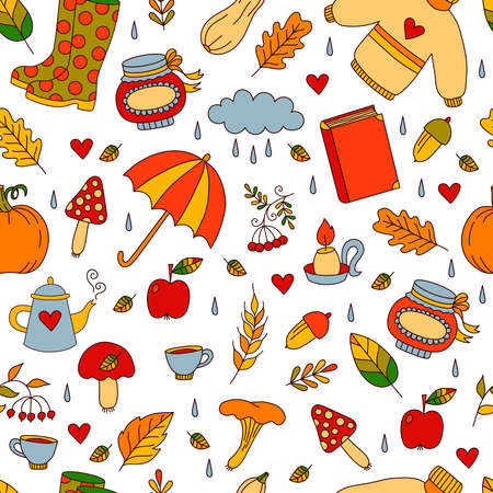 Autumn fall colorful cute cartoon icons seamless vector pattern