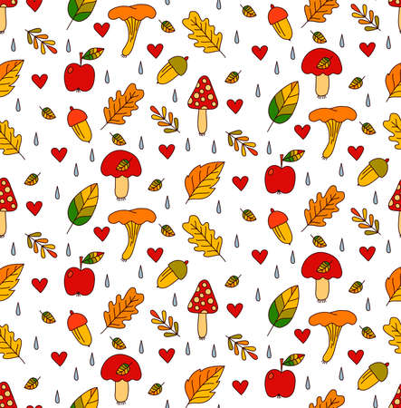 Fall autumn leaves mushrooms apples colorful seamless vector pattern