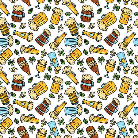 Beer bottles cups colorful doodle seamless vector pattern Stock Illustratie