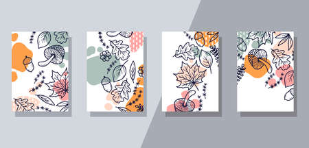 Elegant floral forest interior posters vector set Stock Illustratie