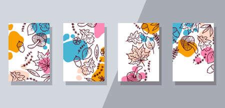 Floral doodle interior banner template vector set