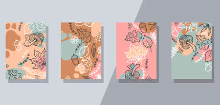 Floral nature doodle interior posters banners temlates 일러스트