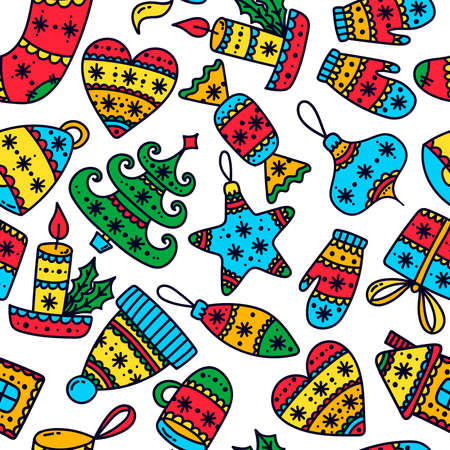 ChristmasNew Year doodle colorful cartoon icons seamless vector pattern