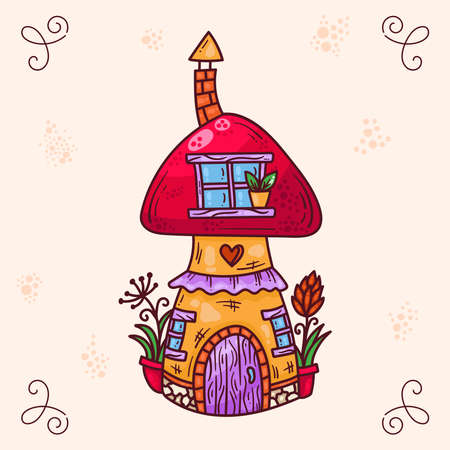 Cute colorful doodle cartoon mushroom fairy tale house vector illustration