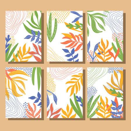 Floral elegant trendy posters vector set