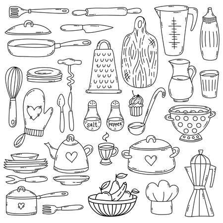 Doodle kitchen cooking doodle line vector icons set