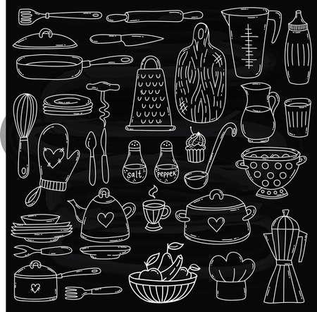 Cooking kitchen equipment doodle line vector icons set chalkboard background