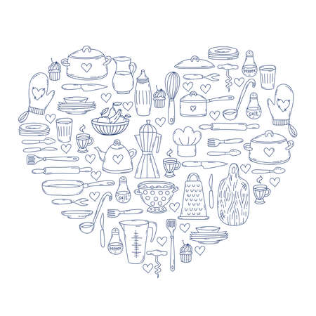 Kitchen cooking doodle icons heart shae design Stock Illustratie