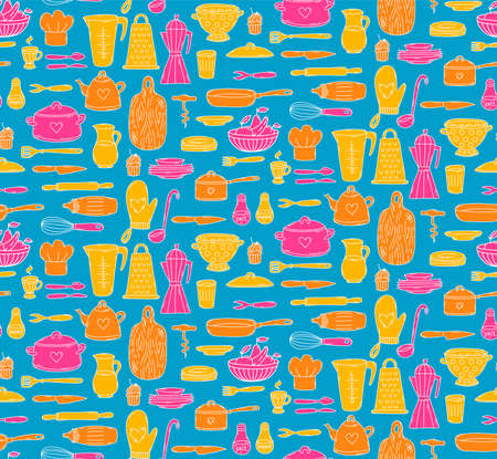 cooking kitchen icons colorful seamless vector pattern