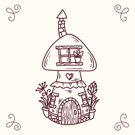 Mushroom doodle line fairy tale house vector illustration