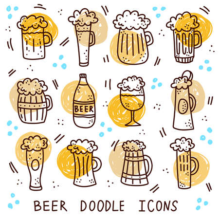 Beer ale drink in cups and glasse doodle vector icons set