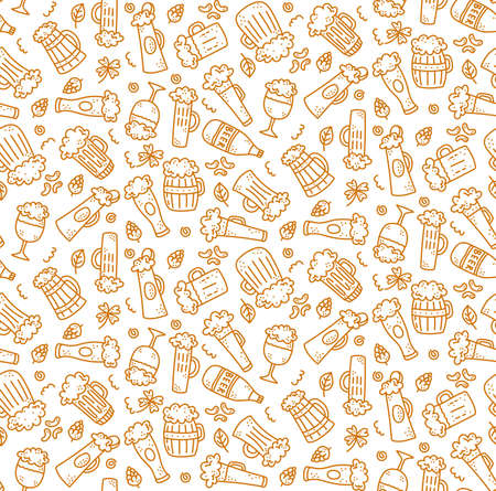 beer drink doodle decorative simple seamless vector pattern