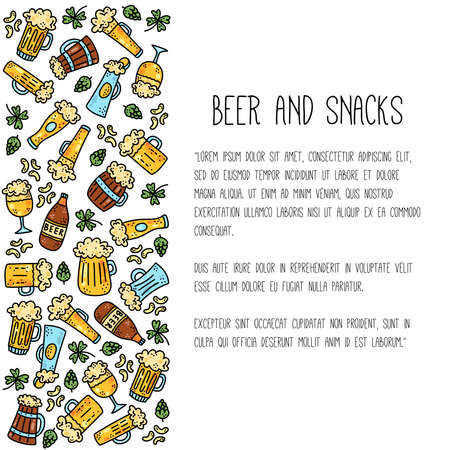 Beer ale alcoholic drinks doodle cartoon vector set Stock Illustratie