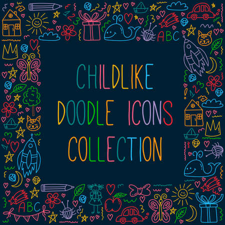 Childlike random doodle cute icons vector set Stock Illustratie