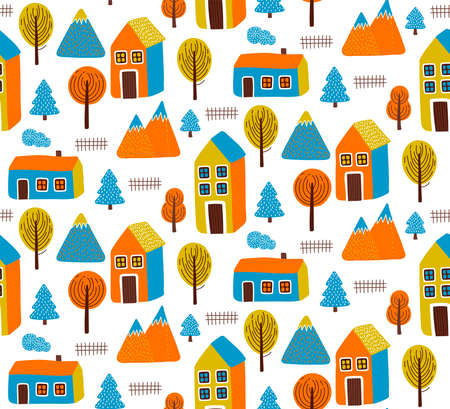 Little cute autumn city village colorful seamless vector pattern