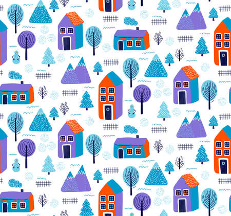 Cute winter christmas town city village seamless vector pattern