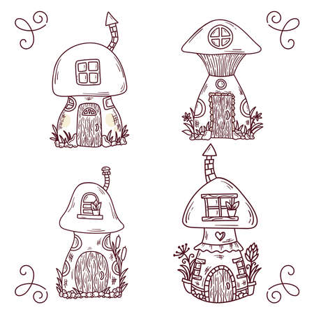 Cute mushroom doodle line houses vector set