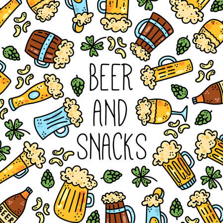 Beer drinks colorful cute cartoon vector icons banner template