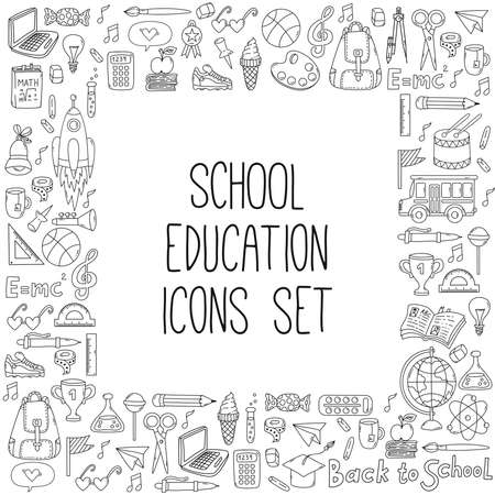 School education doodle line icons set square shape frame design 일러스트
