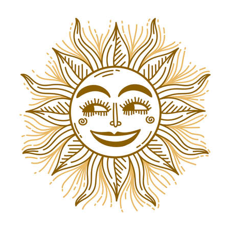 Sun astrological icon vintage doodle vector illustration Isolated