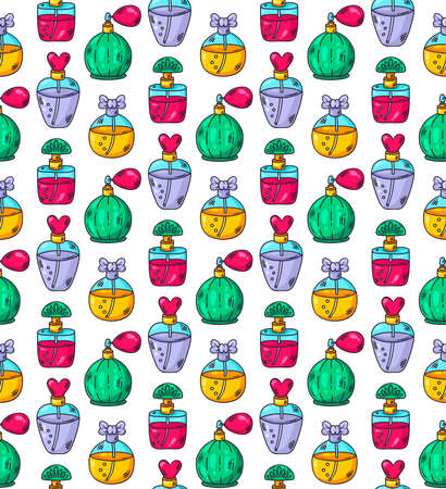 Parfume bottles doodle colorful doodle cartoon seamless vector pattern