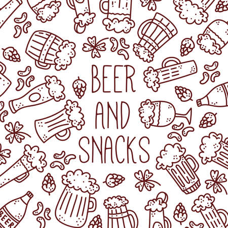Beer doodle line icons vector banner template