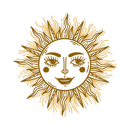 Sun face astrological icon vintage doodle vector illustration