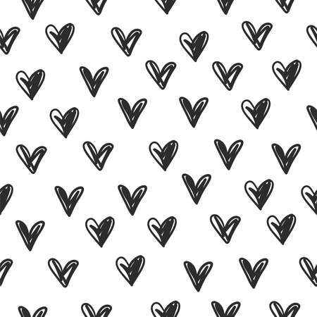 Doodle sketchy heart seamless vector simle pattern 스톡 콘텐츠 - 163506449